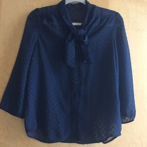 Tops - Tie Blouse Navy Swiss Dotted Size Small